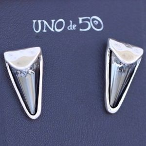 $180 UNO de 50 Blakie Silver Plated Metal Earrings